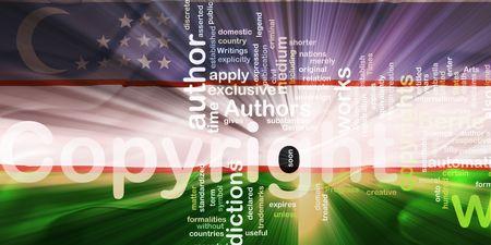 authorship: Flag of Uzbekistan, national country symbol illustration wavy fabric national copyright law Stock Photo