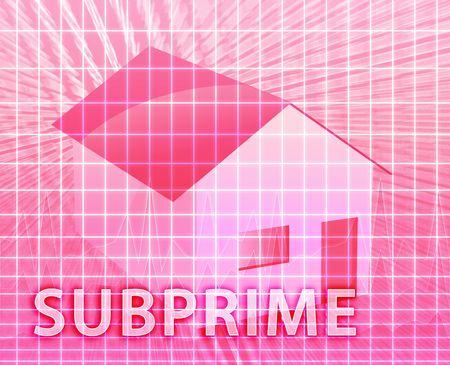 House financing digital collage illustration, subprime loan Stock Illustration - 6528284