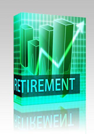 Software package box Retirement finances illustration of bar chart diagram illustration