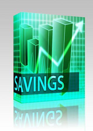Software package box Savings finances illustration of bar chart diagram illustration