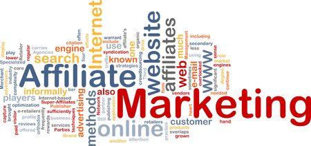 Word cloud concept illustration of affiliate marketing illustration