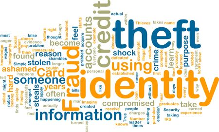 compromised: Word cloud tags concept illustration of identity theft