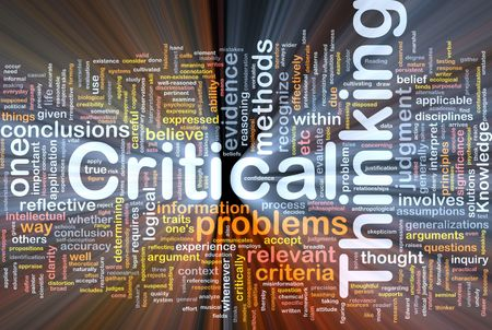 critical thinking: Background concept wordcloud illustration of critical thinking strategy glowing light