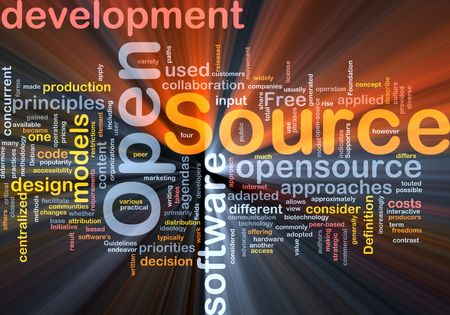 source: Background concept wordcloud illustration of open source license glowing light