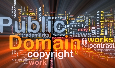 patents: Background concept wordcloud illustration of public domain work  glowing light Stock Photo