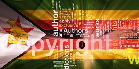 authorship: Flag of Zimbabwe, national country symbol illustration wavy fabric national copyright law