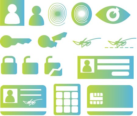 smartcard: Security and biomtetric icon set, clipart illustration