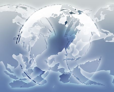 the americas: Glowing translucent world map globes, Americas, Asia, Europe, Africa Stock Photo