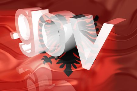 gov: Flag of Albania, national country symbol illustration wavy gov government website