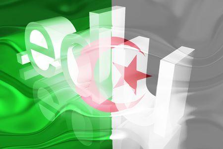 edu: Flag of Algeria, national country symbol illustration wavy edu education website