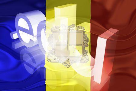 Flag of Andorra, national country symbol illustration wavy edu education website illustration