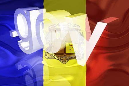 Flag of Andorra, national country symbol illustration wavy gov government website illustration