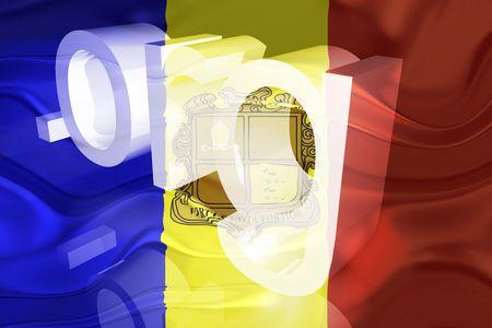 Flag of Andorra, national country symbol illustration wavy org organization website illustration