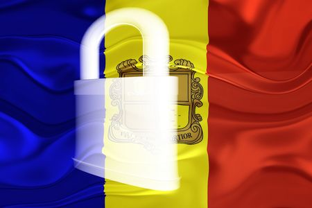 Flag of Andorra, national country symbol illustration wavy security lock protection illustration