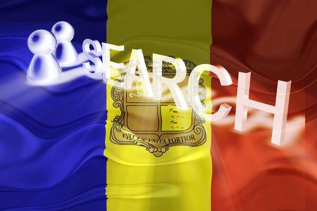 Flag of Andorra, national country symbol illustration wavy internet search technology illustration