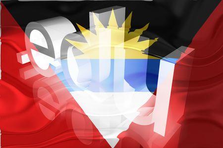 edu: Flag of Antigua national country symbol illustration wavy edu education website