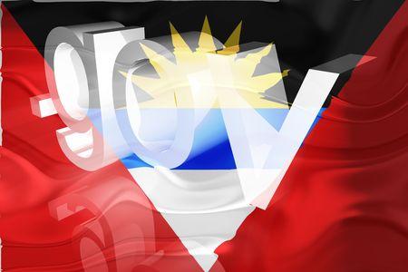 gov: Flag of Antigua national country symbol illustration wavy gov government website