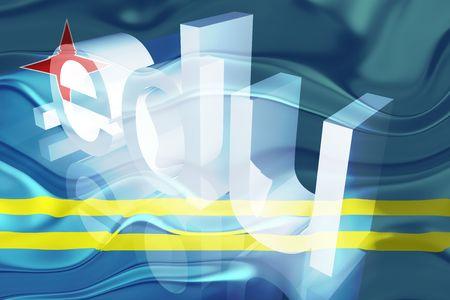 edu: Flag of Aruba, national country symbol illustration wavy edu education website Stock Photo