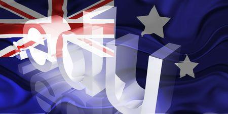 edu: Flag of Australia, national country symbol illustration wavy edu education website