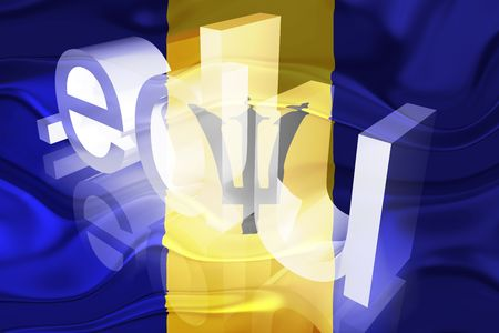 Flag of Barbados, national symbol illustration clipart wavy edu education website Stock Illustration - 6618426