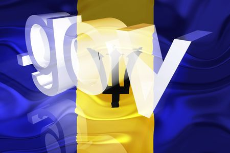 Flag of Barbados, national symbol illustration clipart wavy gov government website Stock Illustration - 6618392
