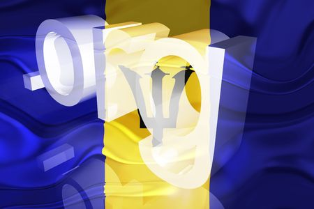 Flag of Barbados, national symbol illustration clipart wavy org organization website Stock Illustration - 6618398