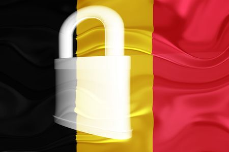 defended: Flag of Belgium, national symbol illustration clipart wavy security lock protection