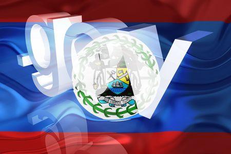 gov: Flag of Belize, national country symbol illustration wavy gov government website Stock Photo