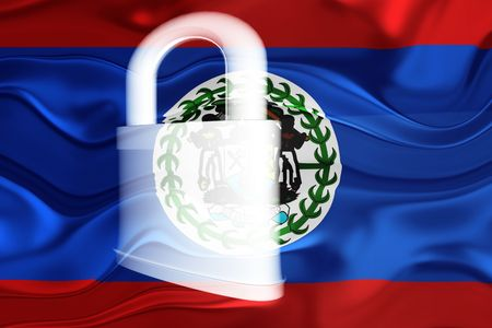 guarded: Flag of Belize, national country symbol illustration wavy security lock protection
