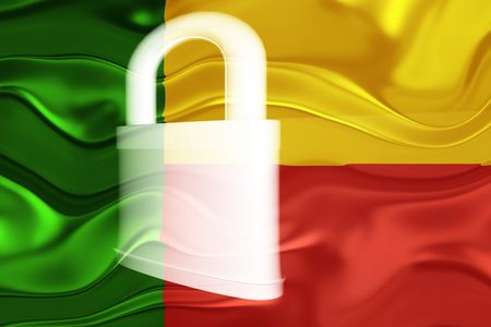 guarded: Flag of Benin, national country symbol illustration wavy security lock protection Stock Photo