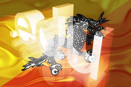 edu: Flag of Bhutan, national country symbol illustration wavy edu education website