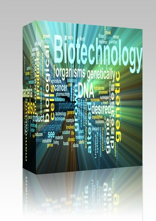 recombinant dna: Software package box Word cloud concept illustration of  biotechnology research glowing light effect