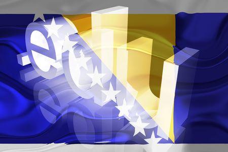 edu: Flag of Bosnia Hertzigovina, national country symbol illustration wavy edu education website Stock Photo