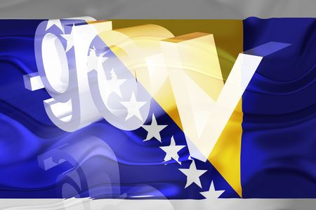 Flag of Bosnia Hertzigovina, national country symbol illustration wavy gov government website Stock Illustration - 6618437