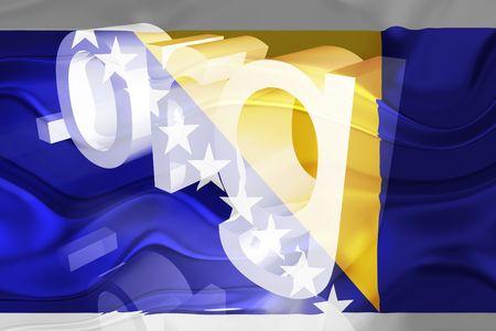 Flag of Bosnia Hertzigovina, national country symbol illustration wavy org organization website Stock Illustration - 6618439