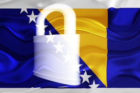 Flag of Bosnia Hertzigovina, national country symbol illustration wavy security lock protection Stock Illustration - 6618431