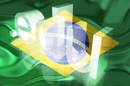 edu: Flag of Brazil, national country symbol illustration wavy edu education website Stock Photo