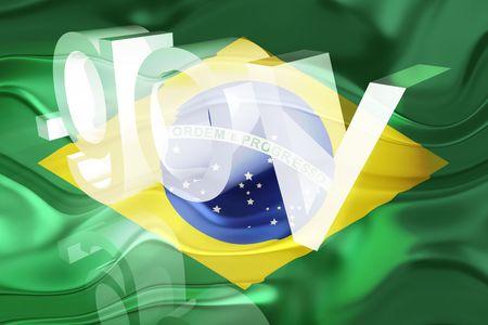 gov: Flag of Brazil, national country symbol illustration wavy gov government website Stock Photo