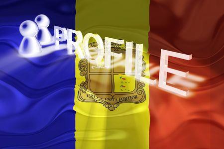 Flag of Andorra, national country symbol illustration wavy internet information profile illustration