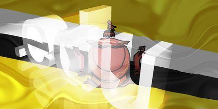 edu: Flag of Brunei, national symbol illustration clipart wavy edu education website Stock Photo