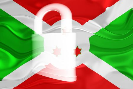 guarded: Flag of Burundi, national country symbol illustration wavy security lock protection Stock Photo