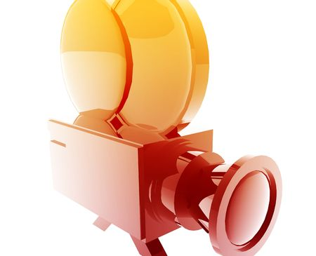 feature film: Old film camera illustration glossy metal style isolated Stock Photo