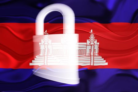 guarded: Flag of Cambodia, national symbol illustration clipart wavy security lock protection Stock Photo