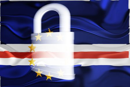 guarded: Flag of Cape Verde, national country symbol illustration wavy security lock protection