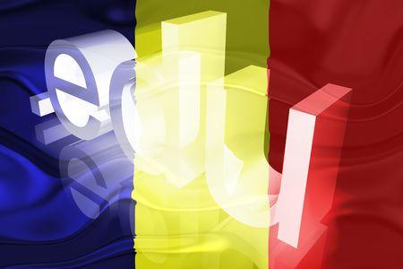 edu: Flag of Chad, national country symbol illustration wavy edu education website Stock Photo