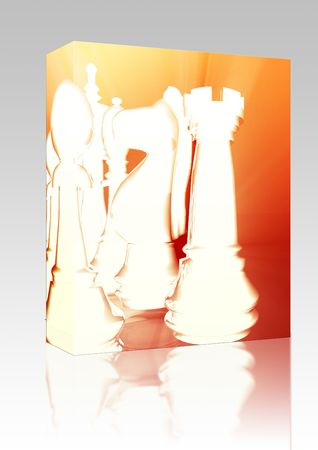 ordered: Software package box Chess strategy competion concept illustration, glowing energy style