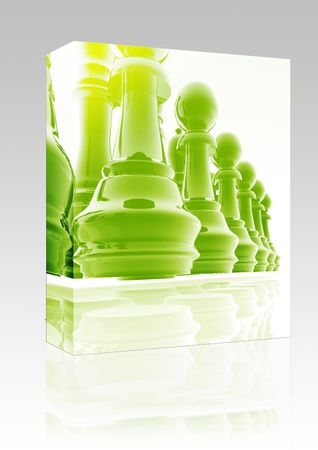 ordered: Software package box Chess set pieces illustration, glossy chrome metal style