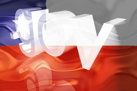 gov: Flag of Chile, national symbol illustration clipart wavy gov government website Stock Photo