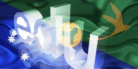 edu: Flag of Christmas Islands, national symbol illustration clipart wavy edu education website