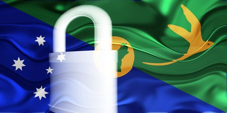 guarded: Flag of Christmas Islands, national symbol illustration clipart wavy security lock protection